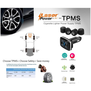 Laser Power External TPMS for Car with battery monitoring, LCD display