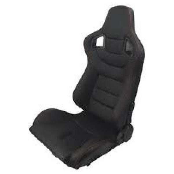 Reclinable Racing Car Seat with Slider in Black color (set of 2)