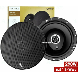 INFINITY ALPHA 6530 6.5 INCH 3-WAY CO-AXIAL SPEAKERS, 290W, 40W RMS, WITH GRILL
