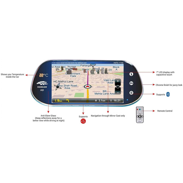 Hamaan HMPS 7770M Rear View Touch Screen Monitor with Mirror Link