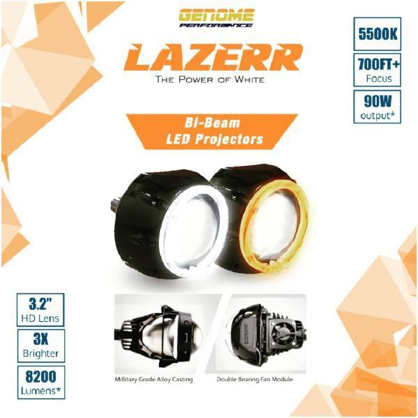Genome 3.2″ Lazerr Bi-Beam LED Projector Casings with DRLs 5500K with a set of LED bulbs