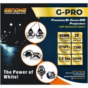 Genome 3.2″ G-Pro Bi-Xenon HID Projector Casings with DRLs 5500K with a set of HID bulbs